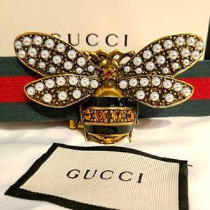Gucci Pearl Queen Margaret Webb Genuine Belt